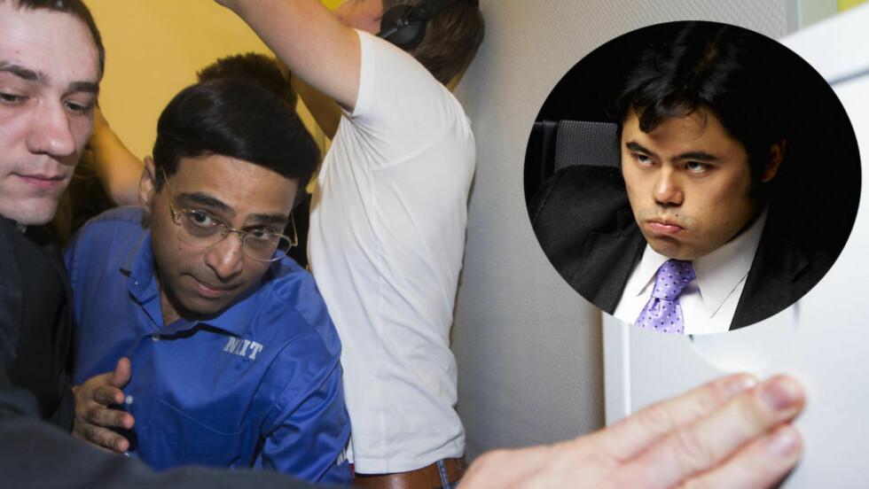 LURTE CARLSEN?: Vishy Anand vant det tredje VM-partiet mot Magnus Carlsen. Sjakkrivalen Hikaru Nakamura mener Anand ikke fortalte hele sannheten om sin strategi på pressekonferansen. Foto: NTB Scanpix