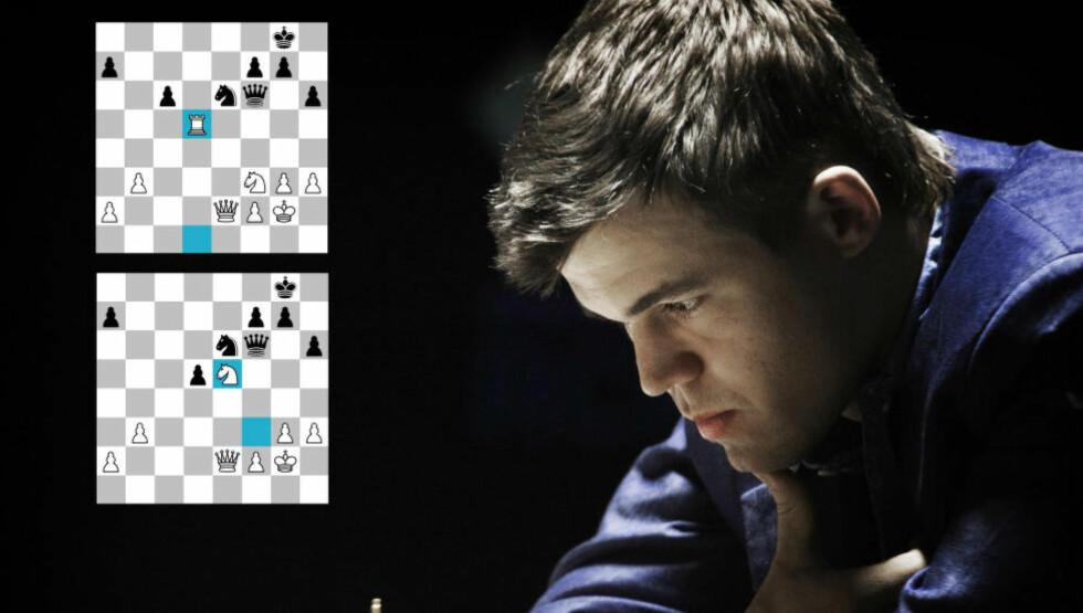 REMIS: Magnus Carlsens 31. og 32. trekk var noe som fikk både datamaskinene og ekspertene til å reagere. Carlsen mistet fordelen han hadde, og parti nummer fire endte med remis. Foto: Hans Arne Vedlog / Dagbladet