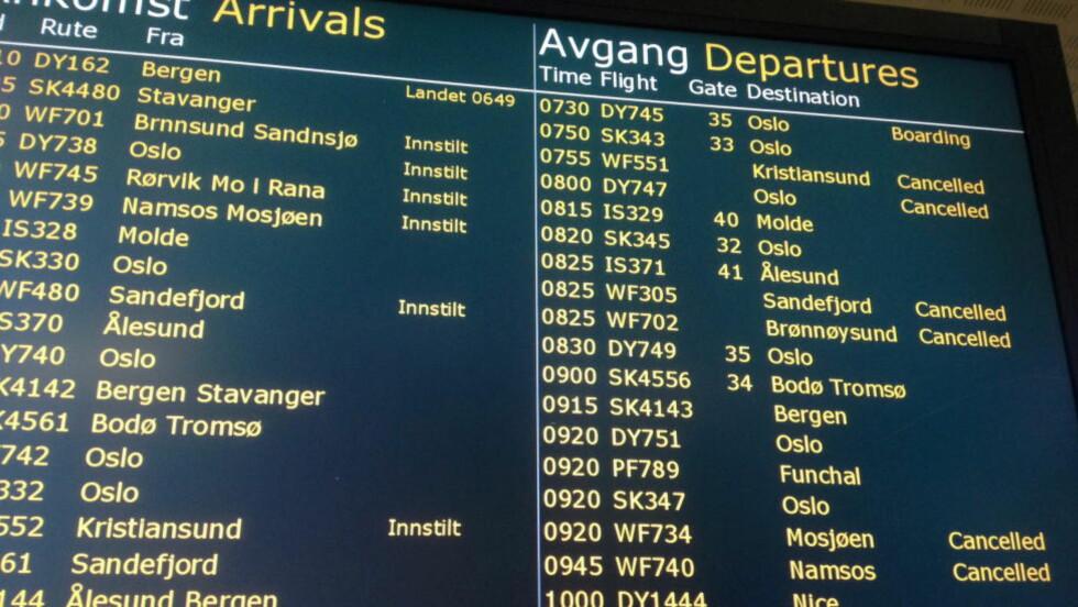 SKAL OMORGANISERE:  Flesland og Værnes er blant flyplassene som kan oppleve forsinkelse i morgen. Foto: Tor Aage Hansen / NTB scanpix