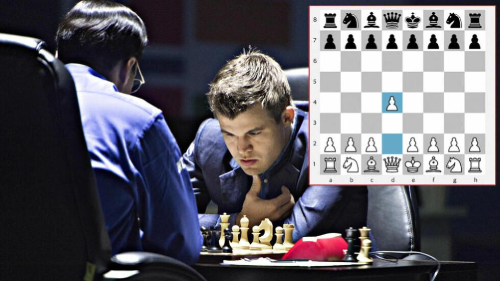 SKUFFET: Magnus Carlsen var langt nede etter gårsdagens parti. Selv om han hadde fordelen av hvite brikker, hadde han aldri noen store vinnersjanser. Åpningstrekket er viktig. Foto: Hans Arne Vedlog/Dagbladet