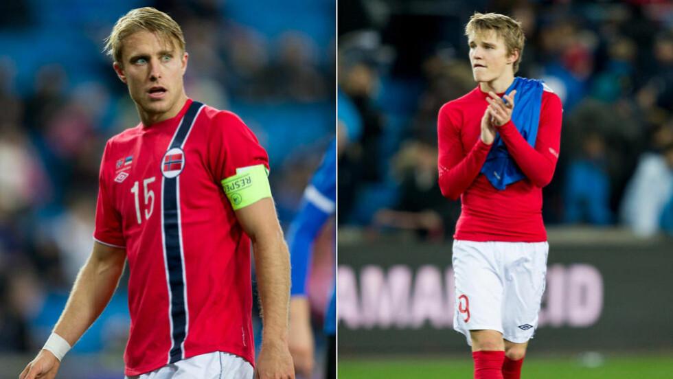 ENTEN ELLER:  Per Ciljan Skjelbred må vike hvis Martin Ødegaard skal starte for Norge skriver Morten Pedersen. Foto: NTB Scanpix.