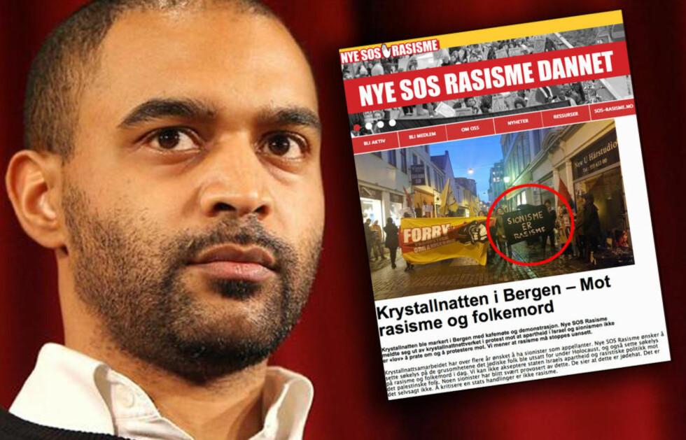"""KREVER NEDLEGGELSE: Lederen av franske SOS Racism er ikke nådig i sin kritikk av norske Nye SOS Rasisme, etter at organisasjonen ville nekte en appellant fra det jødiske miljøet å tale i Bergen, før de markerte overgrepene mot jøder med slagordet """"Sionisme er rasisme"""": - Skift navn, sier Dominique Sopo. Foto: SOS Racism og faksimile fra nyesos.no"""