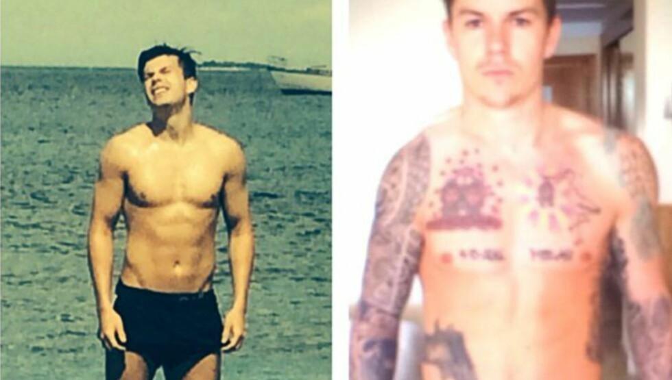 FREKT PÅFUNN:  Pål André Helland har ingen tatoveringer, men fant ut at han ville lure folk, og la ut bildet til høyre på Instagram. Foto: Privat