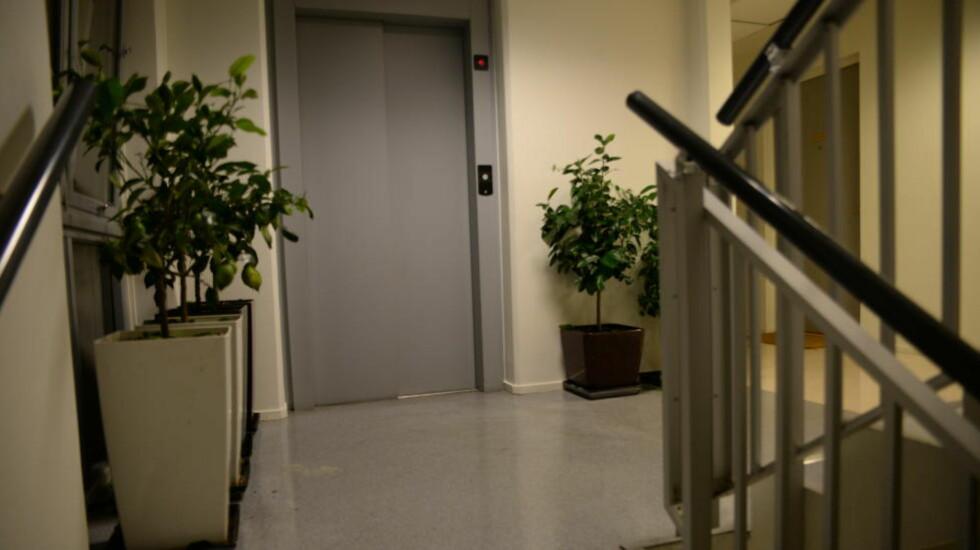 VENTET PÅ OFRENE: Gjerningsmannen ventet på samboerparet som kom hjem fra reise da han angrep dem. Dette bildet er fra oppgangen i etasjen der de to mennen bor. Én mann på 40 år ble drept, mens en 35-åring er alvorlig skadd, men stabil. Foto: Trym Mogen / Dagbladet
