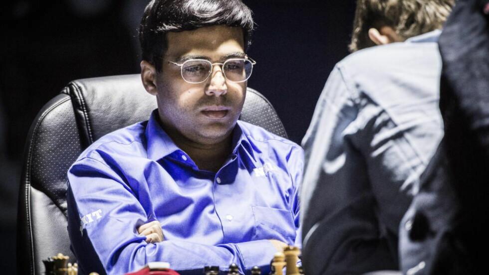 UNDER PRESS:  Vishy Anand bør ha remis i dagens parti for å ha et håp om å kapre VM-tittelen. Foto: Lars Eivind Bones / Dagbladet