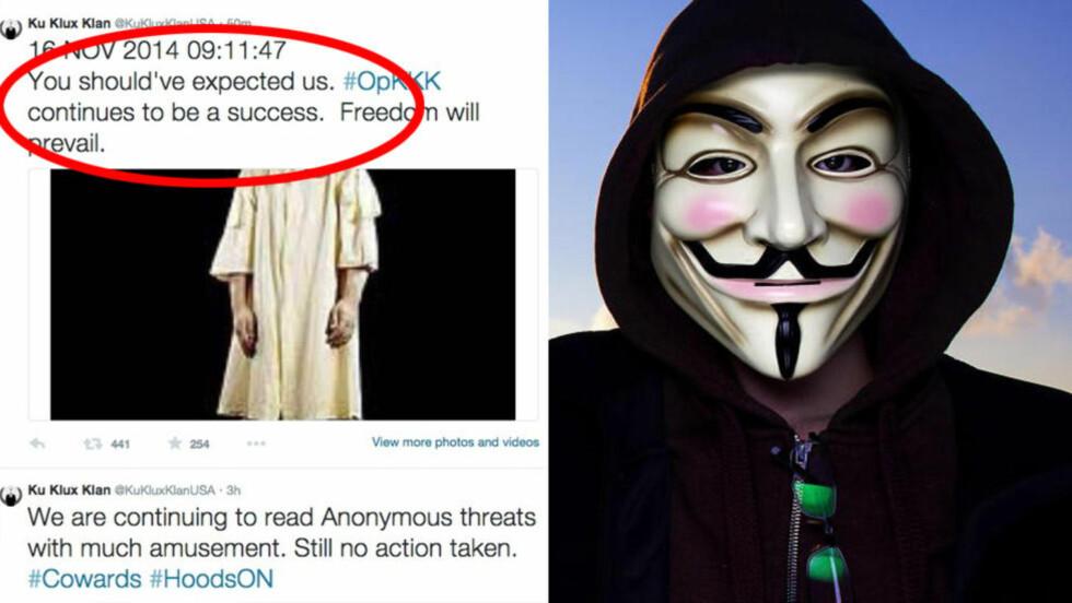 HACKET KU KLUX KLAN:  Hackergruppa Anonymous har tatt over Ku Klux Klans (KKK) Twitter-konto som et ledd i deres aksjon mot den rasistiske organisasjonen. Bildet er tatt ved en annen sammenheng. Foto: Lars Myhren Holand