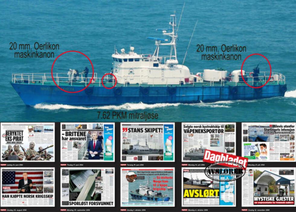 BYGGET FOR KAMP: Dette var missiltorpedobåten KNM «Terne», som sammen med fem søsterskip har havnet hos en krigsherre i Nigeria. Selv om Forsvaret fjernet våpensystemene fra fartøyene før de ble solgt, er skroget, designen og hele båtens arkitektur bygget for å operere og tåle tunge våpen og røff behandling. Kanonene har den nigerianske krigsherren selv montert. Skipene ble levert fra Forsvaret med det siste innen sivile radarer og kommunikasjon. Foto: Privat.