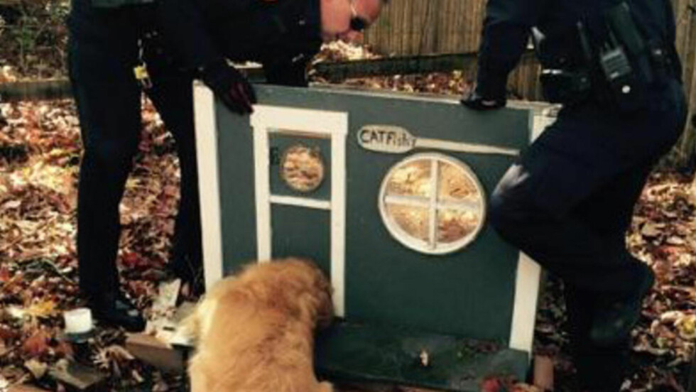 KNIPE: Hunden Buddy satt seg selv i en virkelig knipe før politiet demonterte hele kattehuset og fikk han løs. Foto: AP Photo/Suffolk County Police Department/NTB Scanpix