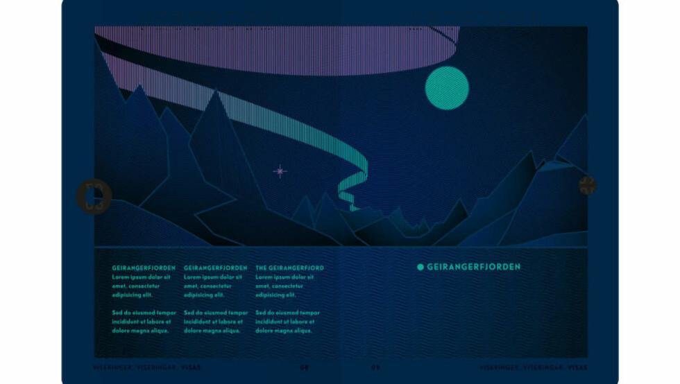 HYLLES: Når tollerne skal undersøke norske pass i fremtida, vil det ultrafiolette lyset fremkalle et nordlyslignende design inni passet. Foto: Neue