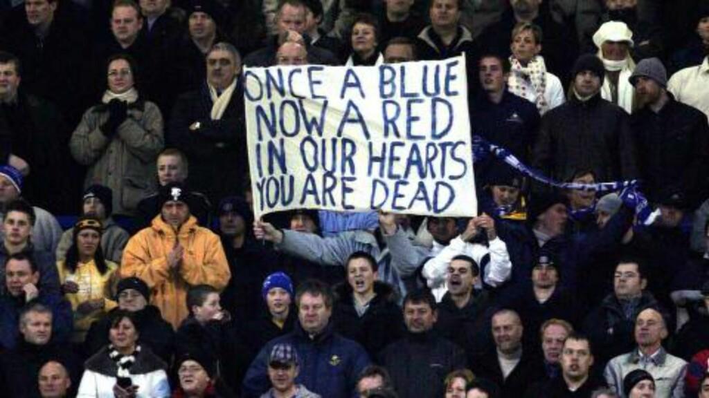FØRSTE MØTE: Dette banneret møtte Rooney i FA-cupkampen på Goodison i 2005. Foto: NTB Scanpix