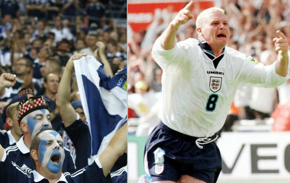 - ALDRI EN VENNSKAPSKAMP: Oppgjørene mellom Skottland og England betyr noe hver eneste gang. Her støtter skotske fans laget sitt på Wembley i fjor (t.v.), mens Paul Gascoigne feirer sitt ikoniske mål under EM i 1996. Foto: Kirsty Wigglesworth / AP / NTB Scanpix og Ady Kerry / Reuters / NTB Scanpix