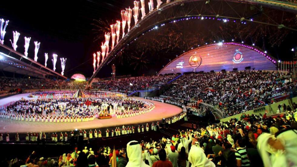VALGT UT:  Doha skal arrangere friidretts-VM i 2019. Bildet er fra Khalifa International Stadium i 2006, hvor det asiatiske mesterskapet ble holdt i 2006. Foto: EPA/STRINGER/NTB Scanpix.