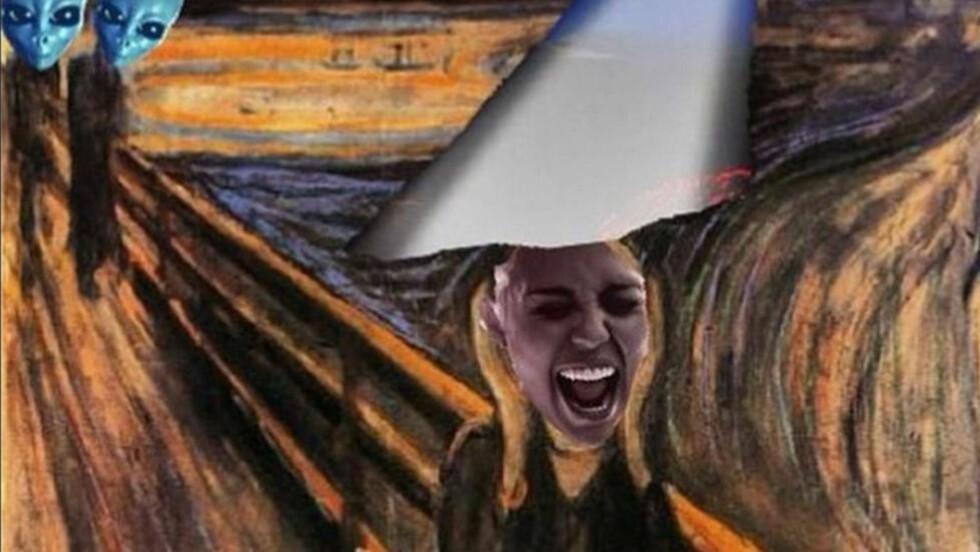 SKRIK: Miley Cyrus i sin egen versjon av Munchs «Skrik». Foto: Instagram