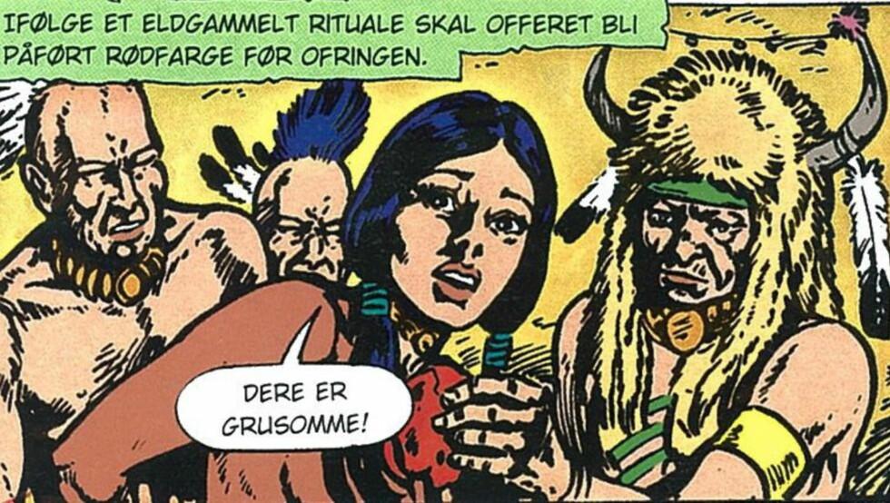 BAKBUNDET: Her blir Månestråle bakbundet naken av krigerske indianere - en stipe som ble sensurert for snart 40 år siden. Illustrasjon: Aller Forlag
