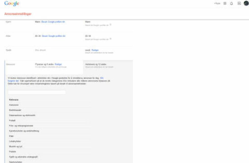 NETTSTEDER: Google har også samlet opplysninger om nettstedene jeg har besøkt og beregnet mine interesser ut fra det. Denne typen innsamling er selve Googles forretningsmodell. Foto: Skjermdump
