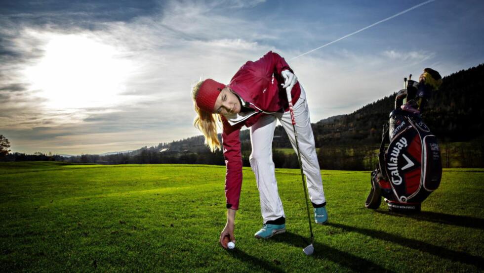 SATSER ALT Mellom alle turneringene bruker Caroline Martens mange timer på Haga Golf, for å trene enda mer.
