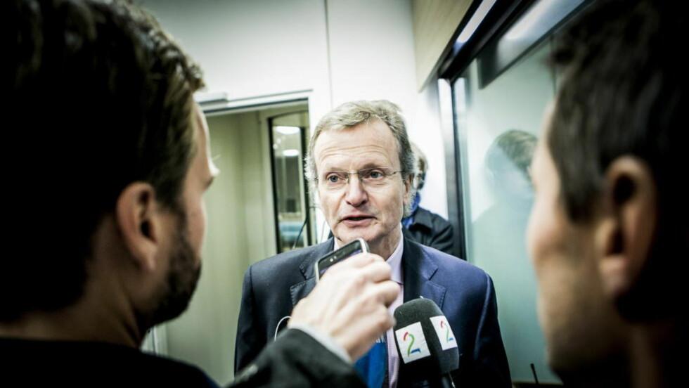 FORKLARTE SEG: Telenors konsernsjef, Jon Fredrik Baksaas (på bilde) og styreleder Svein Aaser måtte i går forklare seg korrupsjonsanklagene i Næringsdepartementet. Foto: Christian Roth Christensen / Dagbladet