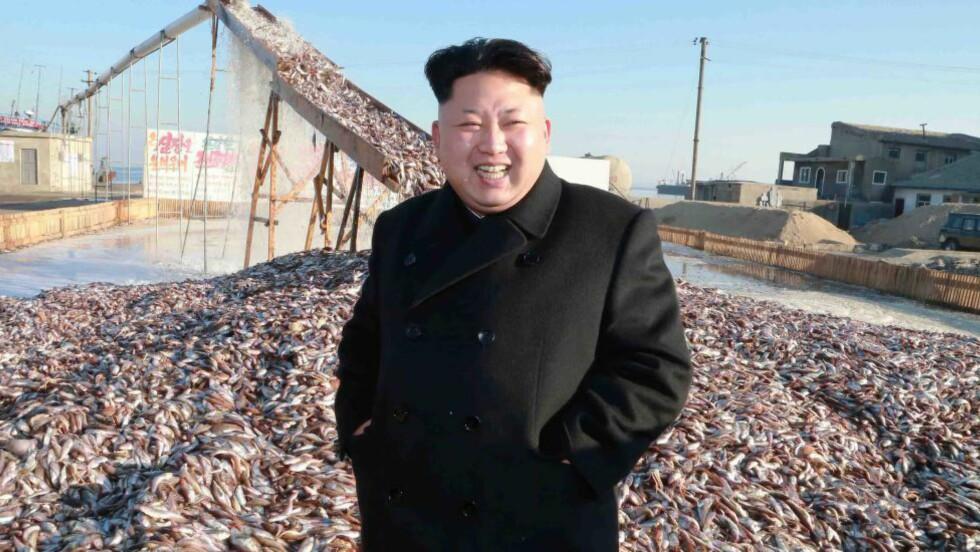 TØFF RETORIKK:  Nord-Korea og dets leder, Kim Jong-un, misliker at FN og USA ønsker å se på mulige menneskerettighetsbrudd i landet. Nå truer de med å utføre nye atomtster. Her er Kim Jong-un og sjekker ut en fiskefabrikk på ukjent sted i Nord-Korea. Lederen er, som sin far, glad i å se på ting. Foto: Epa/Scanpix