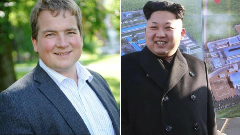 SATT UT:  - Det var helt sinnssykt å høre på de triste og brutale historiene fra nordkoreanerne som hadde klart å rømme fra diktaturet i landet, sier Sveinung Stensland, stortingsrepresentant i Helse- og Omsorgskomiteen, til Dagbladet. Til høyre i bildet ser du diktator i Nord-Korea, Kim jong-un. Foto: Høyre/Reuters / NTB scanpix.