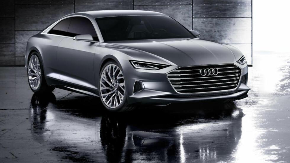 FORNYELSE: OK, grunntemaet i Audi-designen er fortsatt i store trekk det samme, men dette er likevel mye nytt. aserdiodene inne i lyktene sørger for en ekstrem rekkevidde på fjernlysene. De store luftinntakene under frontlyktene og de skarpe linjene på støtfangeren kan tydelig assosieres med design fra motorsporten. Foto: AUDI