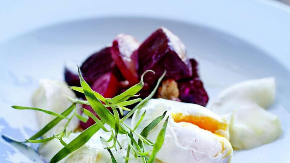 FIN FISK : På Vianvang serverer Arne Brimi en nydelig forrett med ovnsbakt klippfisk og fargerike beter. Enkelt, delikat -  og med masse god smak. Foto: METTE MØLLER