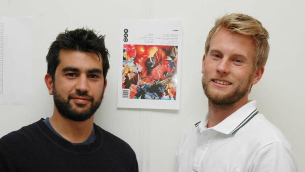 GIR SEG: Eno ble startet av Behnam Farazollahi (til venstre), Eirik Kydland og Rune Mortensen, som ikke er med på dette bildet fordi han har tatt det. Foto: Rune Mortensen/Eno