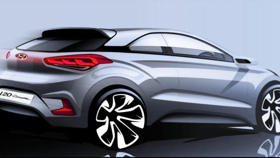 SPORTSLIG: Om i20 Coupé bli i nærheten av skissen, kan dette bli en hot billig ungdomsbil. Illustrasjon: HYUNDAI