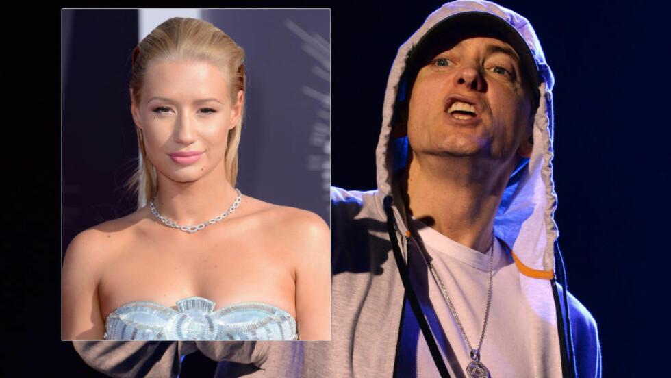 KRASS: Det har oppstått ordkrig mellom rapperne Iggy Azalea (innfelt) og Eminem etter at sistnevnte fornærmet Azalea i nytt rapvers. Foto: Stella Pictures, NTB Scanpix