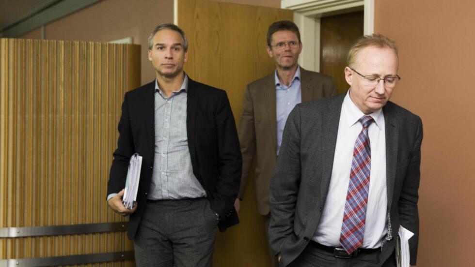 - UMAKE PAR: Det er stor avstand spesielt mellom Frp - ved Gjermund Hagesæter (fremst), Venstre, ved Terje Breivik (bakerst) og KrF ved Hans Olav Syversen. Foto: Berit Roald / NTB scanpix