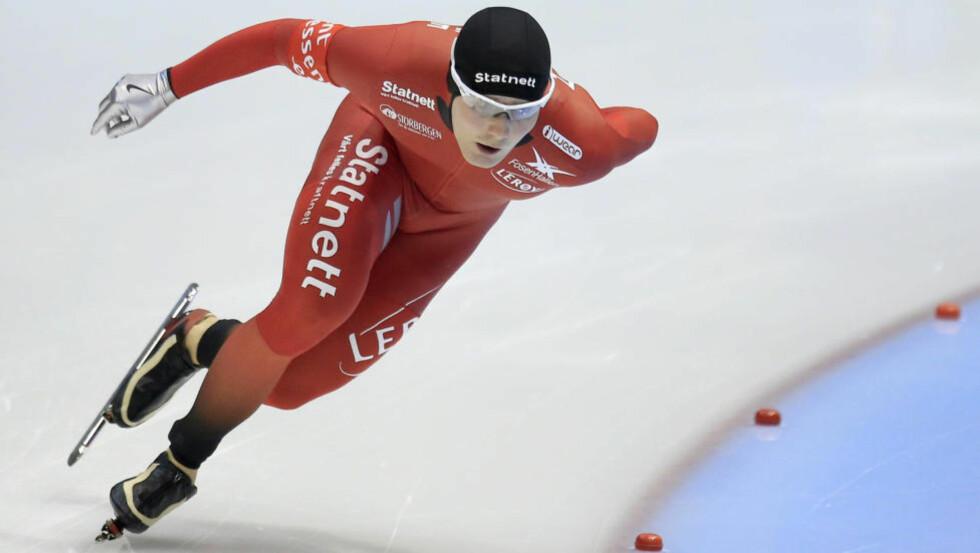 Foto: Sverre Lunde Pedersen tok sin første verdenscupseier da han vant 1500-meteren i Sør-Korea. Peter Dejong /  AP Photo