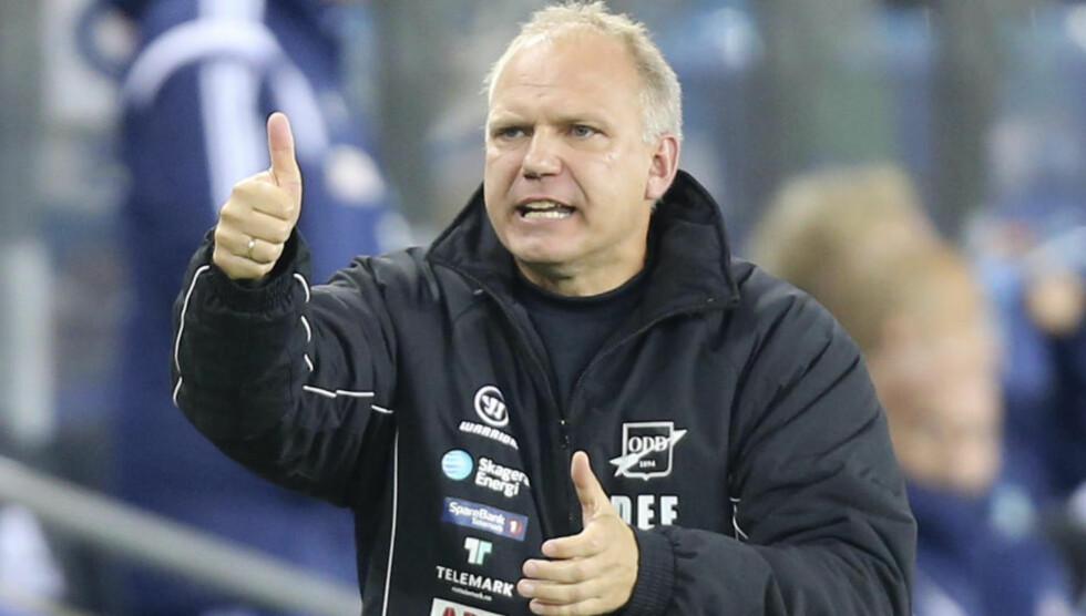 BRONSE OG CUPFINALE: Odd-trener Dag-Eilev Fagermo får trenernes utmerkelse på tross av at han så langt ikke har vunnet noe denne sesongen. Foto: Terje Pedersen / NTB scanpix