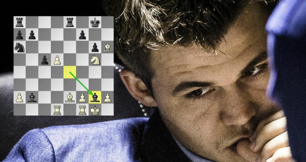 BLE LURT:  Magnus Carlsens løper til g2 var ikke et reelt trekk. Det var en feil på datamaskinen i Sotsji som satte en støkk i Team Carlsen. Foto: Lars Eivind Bones