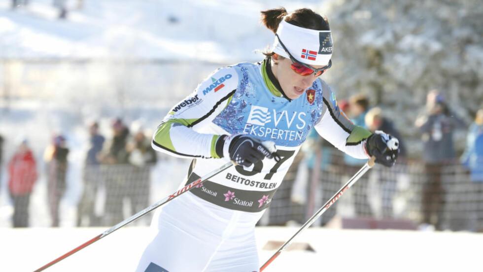 REVANSJE: Marit Bjørgen måtte nøye seg med andreplass i går, i dag gikk hun helt til topps på Beitostølen. Foto: Terje Pedersen / NTB scanpix