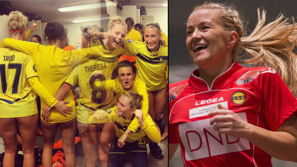VEKKER OPPSIKT: Brøndby-profilen Teresa Nielsen la ut dette bildet (t.v) etter toppkamp i den danske serien. Bildet har vekket oppsikt i hele Europa. LSKs Lene Mykjåland synes ikke noe om stuntet. Foto: NTB Scanpix/Instagram