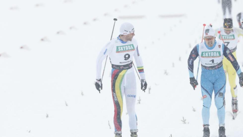 KONGEN OG STJERNESKUDDET: Petter Northug slo alle under sprinten på Beitostølen - også sprinttalentet Sondre Turvoll Fossli. Foto: Terje Bendiksby / NTB scanpix