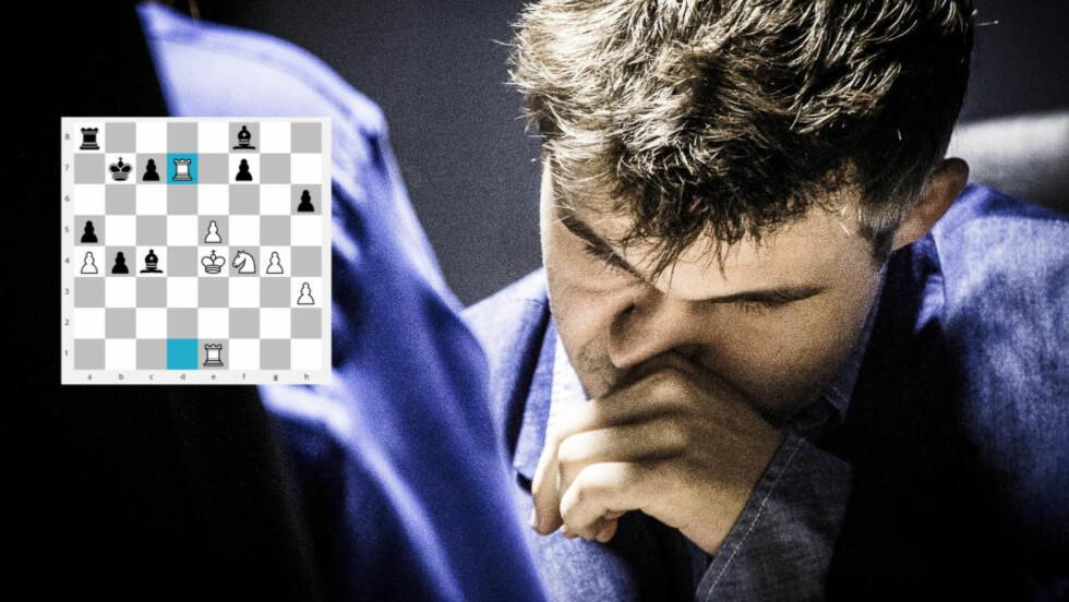 TÅRN-TREKK: Magnus Carlsen trekker fram dette trekket på spørsmål om når han skjønte seieren var sikret. Foto: Lars Eivind Bones