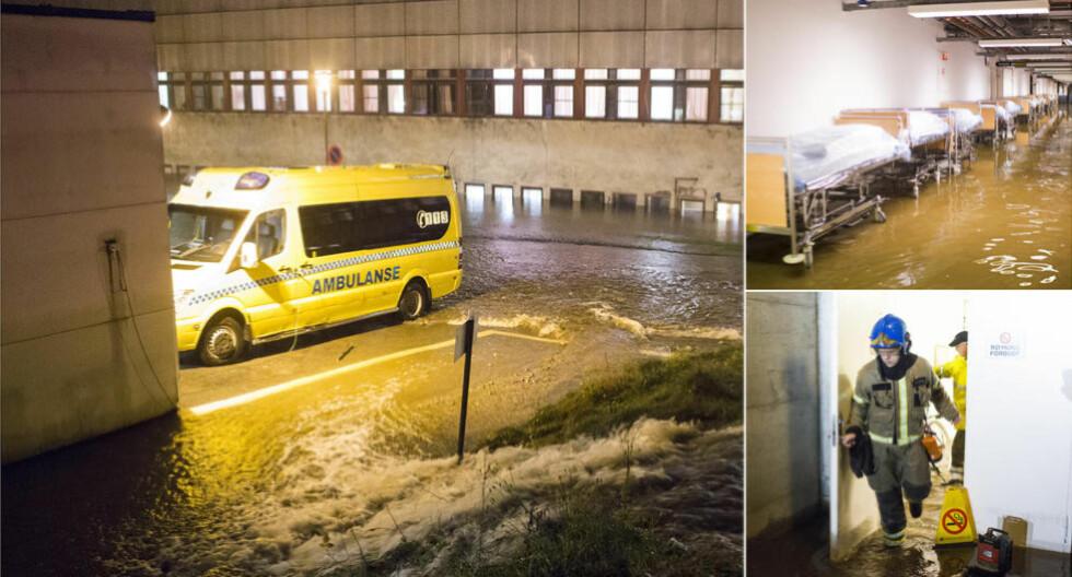 SYKEHUSFLOM:  Mannskaper fra brannetaten og Sivilforsvaret tar seg inn i oversvømte lokaler i sykehuset i Kristiansand søndag kveld. Foto: Sondre Steen Holvik.