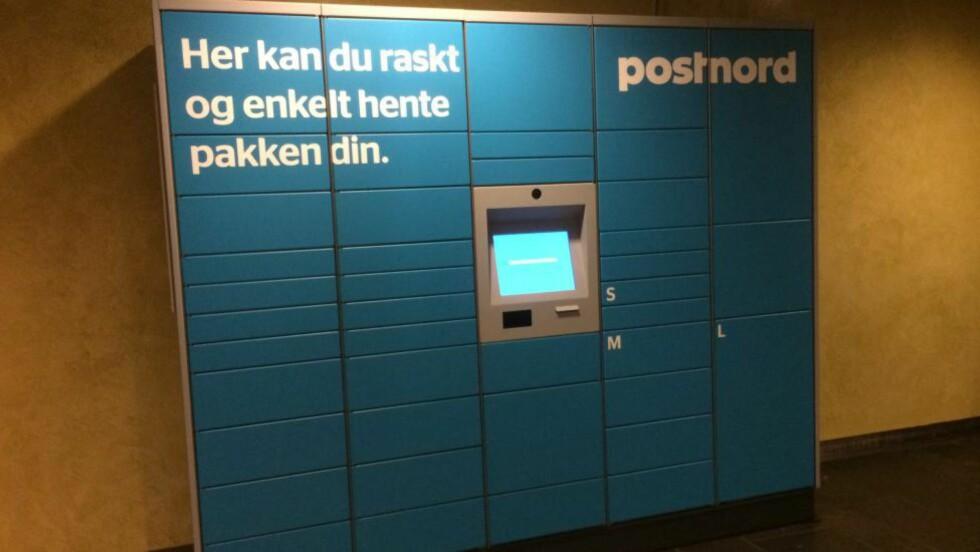 BARE Å HENTE: PostNord har så langt fire pakkeautomater på Østlandet. Posten følger opp med 30 om kort tid. Foto: TORE NESET / DINSIDE.NO