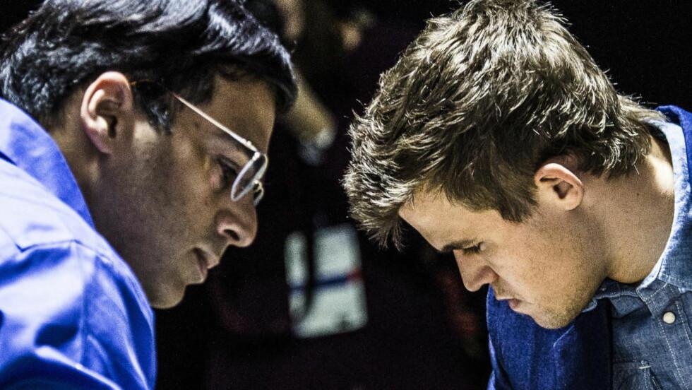 SKRYTES OPP I SKYENE. Magnus Carlsen hylles unisont av indisk presse etter VM-triumfen i går. Mens Vishy Anand får tilsvarende kritikk. Foto: Lars Eivind Bones / Dagbladet