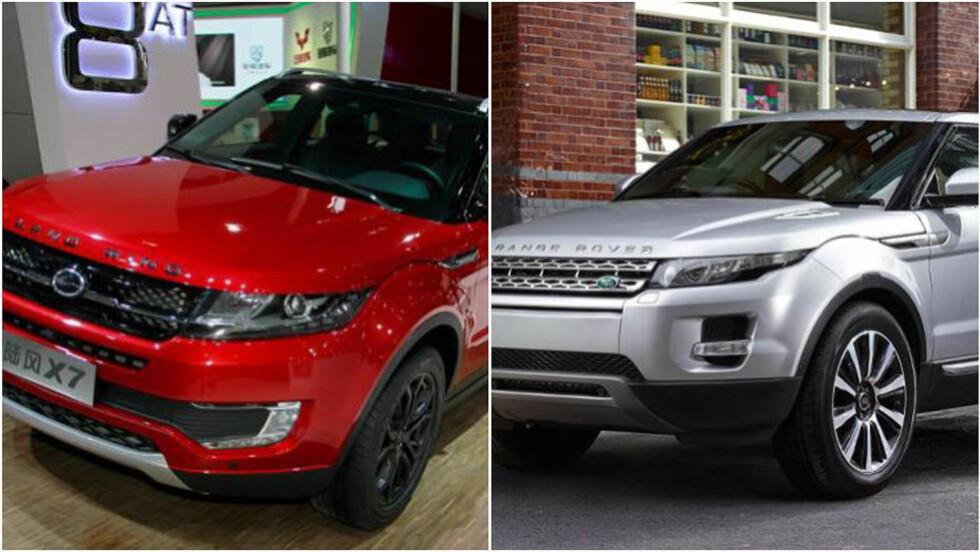 FOR LIKE? Range Rovers sjef liker ikke at kinesiske bilprodusenter har laget en bil ganske lik Range Rover Evoque, til høyre. Foto: LandWind/Range Rover