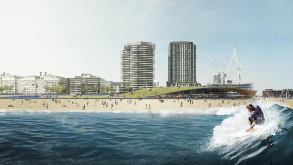 EN SKUMMENDE GOD IDÈ: I Melbourne har lokale arkitekter og globale ingeniører lagt fram forslag om et bølgebasseng midt i byen. Illustrasjon: Damian Rogers Architecture, Arup and Squint/Opera