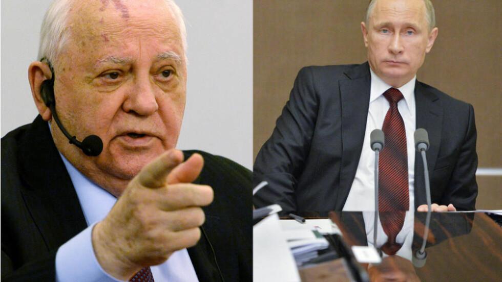 IKKE BESTEVENNER: Tidligere president Mikhail Gorbatsjov er ikke nådig med Vladimir Putin. Foto: NTB Scanpix
