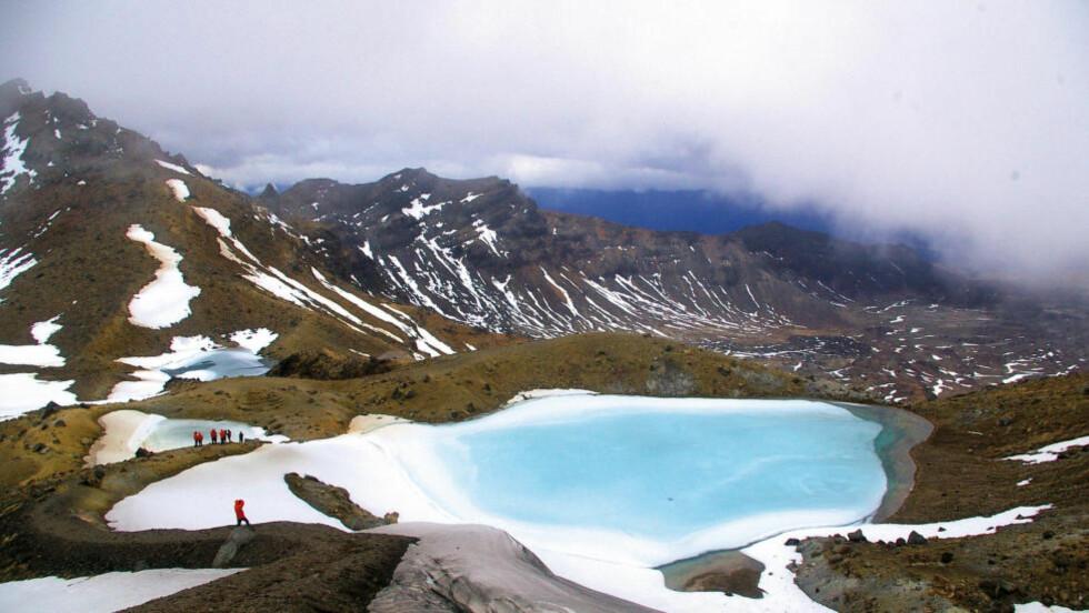 SMARAGDSJØENE: Oppe på vulkanen Tongariro møtes vi av lysende og vakre innsjøer. Svovellukta står derimot ikke helt i stil. Foto: MARTE VEIMO
