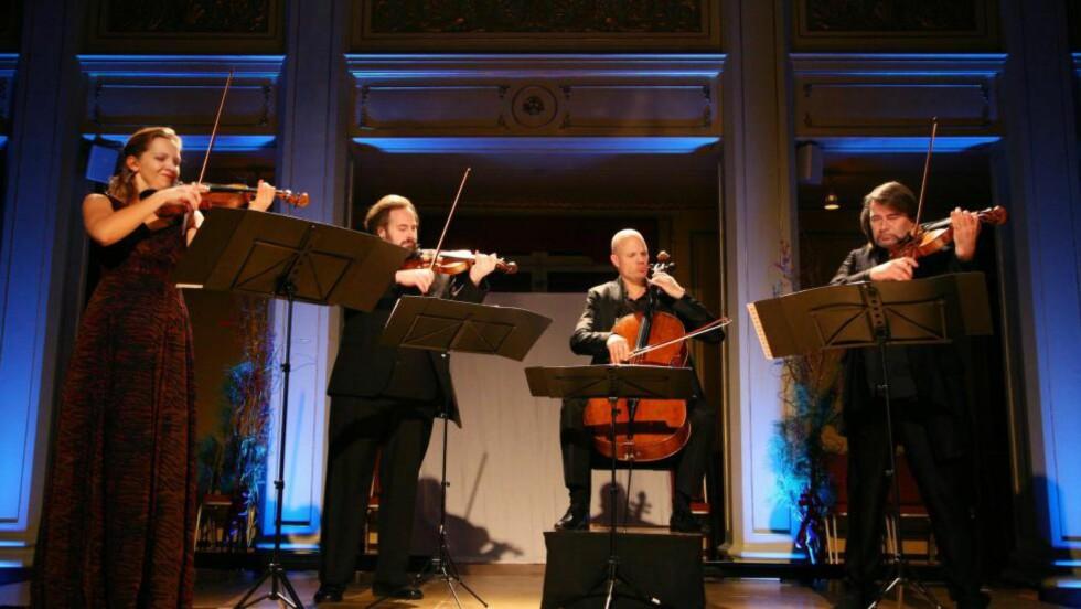 HELFIGUR: Artemis-kvartetten spilte i Gamle Logen i går kveld. Foto: ELLEN LORENZEN