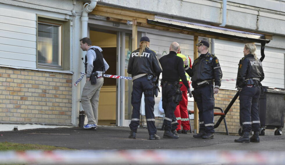SKUTT:  En mann i 50-åra ble skutt på Oppsal i Oslo tirsdag formiddag. Mannen døde onsdag av skadene. Foto: Øistein Norum Monsen / Dagbladet