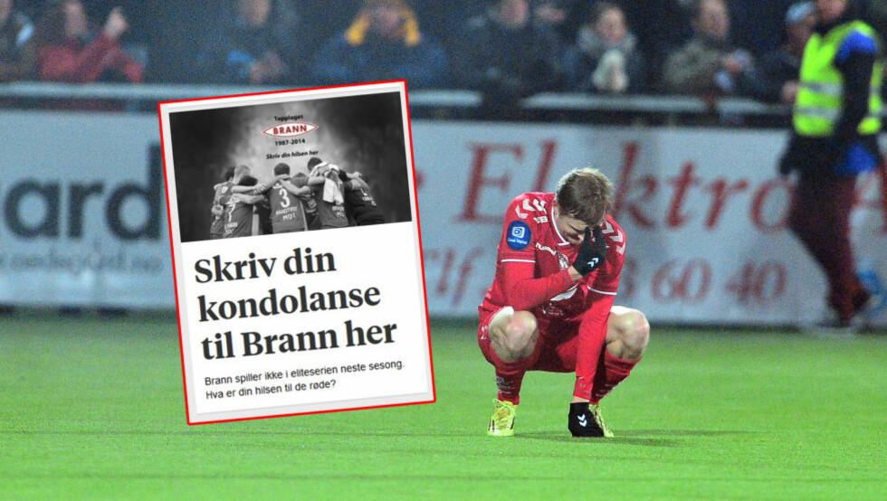 KONDOLANSE: Du kan nå skrive din kondolanse til Brann. Foto: Thomas Rasmus Skaug / Skjermdump bt.no