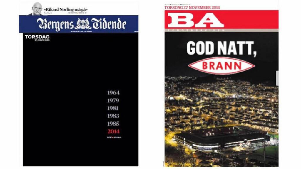 DYSTERT: Slik ser forsidene på Bergens Tidende og BA ut i morgen.