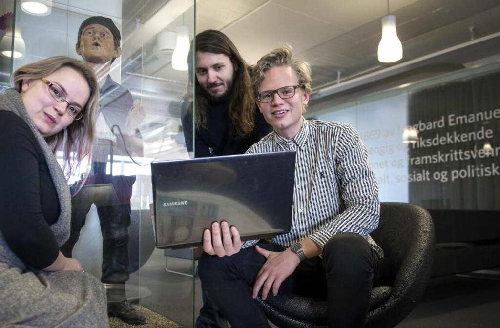 DAGBLADETS NYE MODERATORER: Oda Rygh, Filip Roshauw og Are Sandvik skal styre Dagbladets nye debattfelt på nett.  Foto: Øistein Norum Monsen / DAGBLADE
