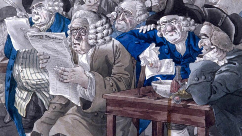TABELLFOLKET: «Stock-Jobbers Extraordinary» heter dette bildet fra cirka 1795 som viser hvordan det ble jobbet med kjøp og salg av aksjer i Londons Bartholomew Lane. Foto: NTB SCANPIX