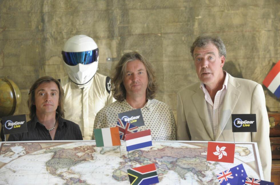 TIL NORGE: Richard Hammond, James May og Jeremy Clarkson er i Oslo med sitt Top Gear Live-show i helga. Foto: Stella pictures